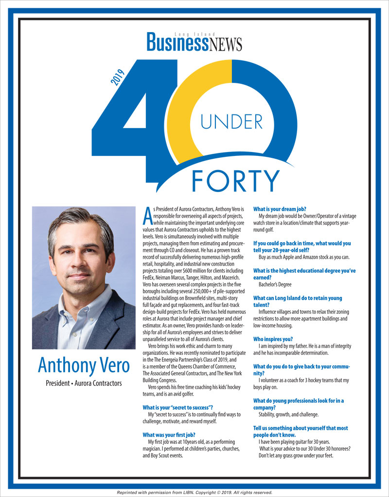 Anthony Vero 40 Under 40